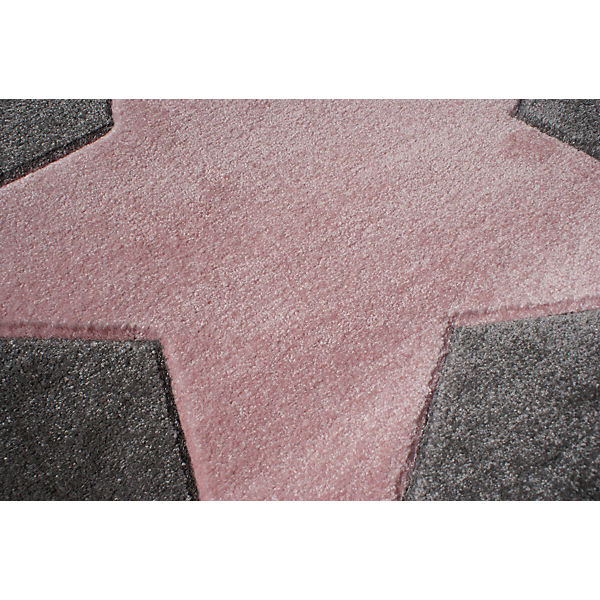 teppich star silbergrau rosa rosa happy rugs yomonda. Black Bedroom Furniture Sets. Home Design Ideas