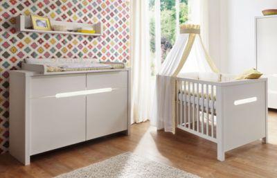 Sparset Poppy White (Kombi-Kinderbett 70 x 140 cm, Umbauseiten und Wickelkommode), Dekor/MDF weiß
