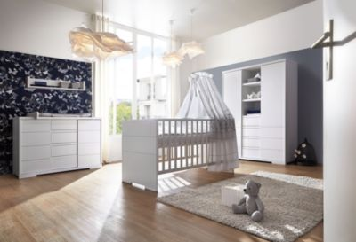 Schardt Komplett Kinderzimmer Maxx White (Kombi-Kinderbett 70 x 140 cm, Umbauseiten, breite Wickelkommode und Kleiderschrank 2-trg. mit Mittelregal), Nachbildung/MDF weiß