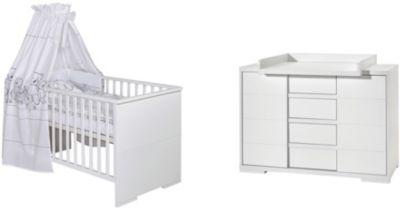 Sparset Maxx White (Kombi-Kinderbett 140 x 70 cm, Umbauseiten und breite Wickelkommode), Dekor/MDF weiß Gr. 70 x 140