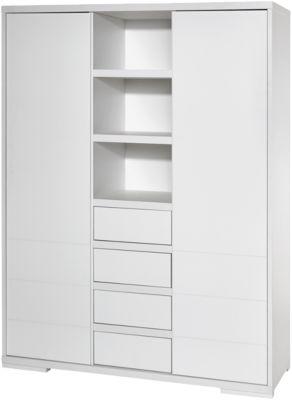 Kleiderschrank Maxx White, 2-trg. mit Mittelregal, Dekor/MDF weiß