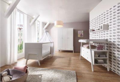 Schardt Komplett Kinderzimmer Holly White (Kombi-Kinderbett 70 x 140 cm, Umbauseiten, Wickelkommode und Kleiderschrank 3-trg.), Nachbildung /Massivholz weiß