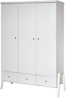 Kleiderschrank Holly White, 3-trg., Dekor/Massivholz weiß