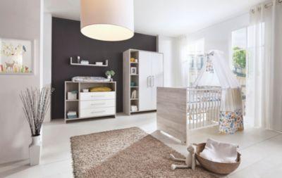 Sparset Eco Cascina (Kinderbett 70 x 140 cm und Wickelkommode), Dekor weiß/Holzdekor Cascina