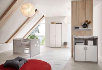 Komplett Kinderzimmer CLASSIC GREY (Kinderbett 60x120, Wickelkommode und Kleiderschrank 2-trg.), Dekor grau/weiß Gr. 60 x 120
