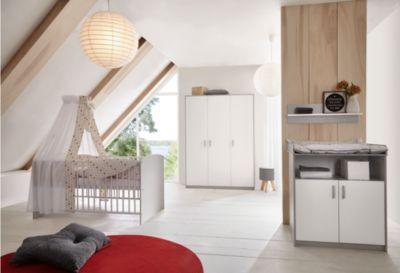 Sparset Classic Grey (Kombi-Kinderbett 70x140 cm mit Umbaukit und Wickelkommode), Dekor grau/weiß weiß/grau Gr. 70 x 140