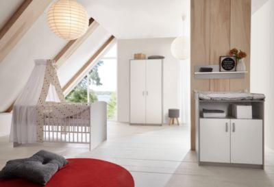 Sparset Classic Grey (Kinderbett 60x120 cm und Wickelkommode), Dekor grau/weiß weiß/grau Gr. 60 x 120