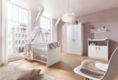 Schardt Komplett Kinderzimmer Classic White (Kombi-Kinderbett 70 x 140 cm mit Umbaukit, Umbauseiten, Wickelkommode und Kleiderschrank 2-trg.), Dekor weiß