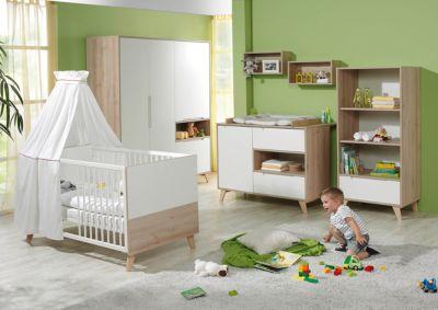 Geuther Komplett Kinderzimmer METTE, 3-tlg. (Kinderbett, Wickelkommode und 3-türiger Kleiderschrank), Buche/weiß Gr. 70 x 140