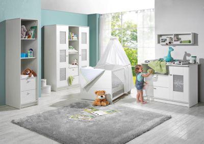 Komplett Kinderzimmer SOL, 3-tlg. (Kinderbett, Wickelkommode und 2-türiger Kleiderschrank), Pinie/weiß Gr. 70 x 140