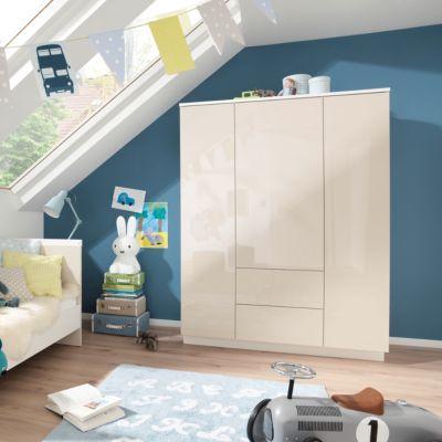 Kleiderschrank EMMI, 3-türig, Weiß/Macchiato Hochglanz weiß