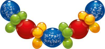 Ballongirlande Happy Birthday, 2,10 m mehrfarbig