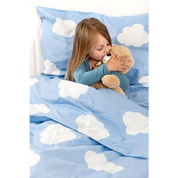 Kinderbettwäsche Wolken Cretonne Blau 135 X 200 Cm Blau
