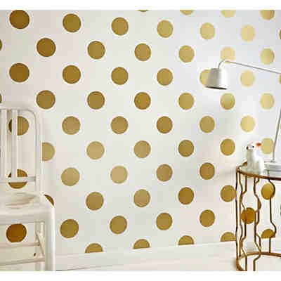 tapete punkte goldfarbig 10 m x 53 cm gold decofun yomonda. Black Bedroom Furniture Sets. Home Design Ideas