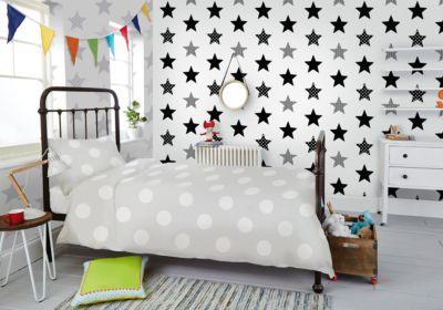Tapete Sterne grau, 10 m x 53 cm
