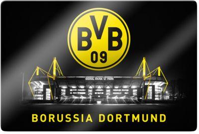 Wandbild BVB Signal Iduna Park bei Nacht, Glas,...