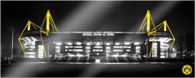 Wandbild BVB Signal Iduna Park bei Nacht Panora...