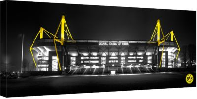 Leinwandbild BVB Signal Iduna Park bei Nacht Pa...