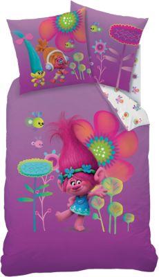 Wende- Kinderbettwäsche Trolls Poppy, Linon, 135 x 200 cm pink
