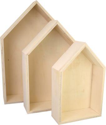 C. KREUL Holzboxen ´´Häuser´´, 3er Set