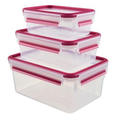 3-tlg. Frischhaltedosen Set ´´Clip & Close´´ rechteckig 0,55 + 1 + 2,3 L pink