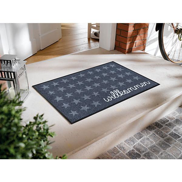 fu matte design willkommen sterne 50x75 cm grau design. Black Bedroom Furniture Sets. Home Design Ideas
