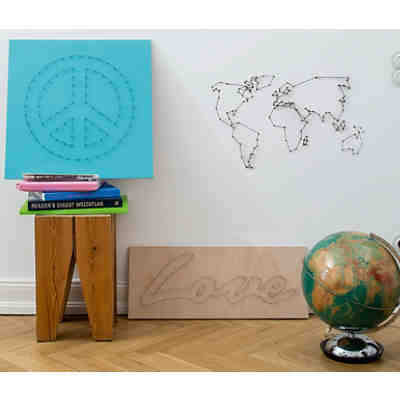 "Wandbild ""We are the World"" mit Nägeln und Faden DIY"
