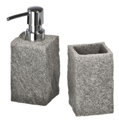 2-tlg. WENKO Bad-Accessoire-Set Granit grau