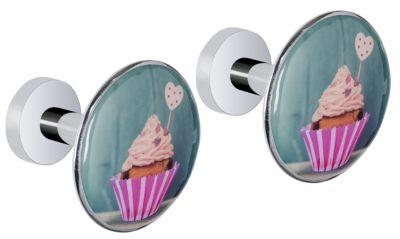 2er-Set Design Wandhaken Cupcake 2er Set silber
