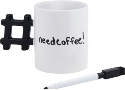 Beschreibbarer Kaffeebecher ´´Hashtag´´ inkl. S...