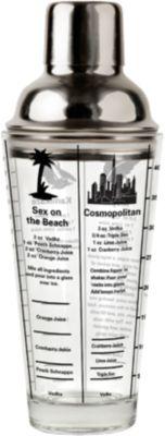 Cocktailshaker mit 6 Rezepten silber