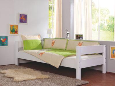 Relita Einzelbett NIK inkl. Rollrost, Buche massiv, weiß, 90 x 200 cm