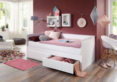 Relita Einzelbett TIMMI inkl. Bettkasten und Rollrost, Buche massiv, weiß, 90/180 x 200 cm Gr. 90 x 200