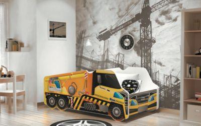 Relita Autobett LKW inkl. Lattenrost und Matratze, gelb, 70 x 140 cm