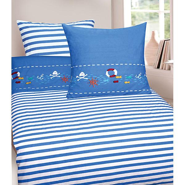 Wende Kinderbettwäsche Piraten Cretonne 135 X 200 Cm Blau