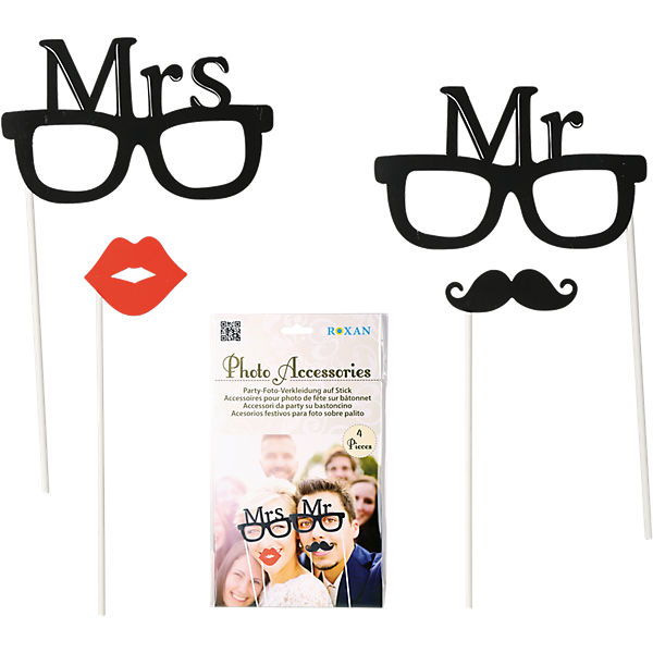 "4-tlg. Foto-Accessories ""Mr. & Mrs."""