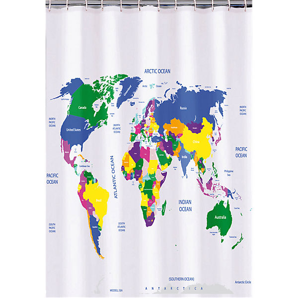 Duschvorhang Weltkarte H B 180 Cm Mehrfarbig Yomonda