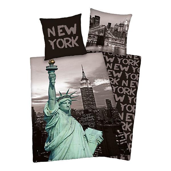 renforc bettw sche new york 135x200 1x80x80cm schwarz herding yomonda. Black Bedroom Furniture Sets. Home Design Ideas