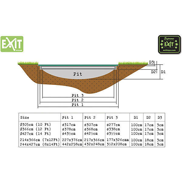 EXIT Trampolin Silhouette Ground 366 cm