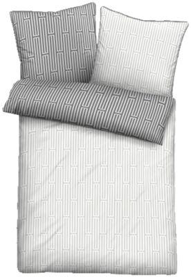 Edel Perkal Bettwäsche ´´Larsson´´ weiß/grau Gr. 135 x 200 + 80 x 80
