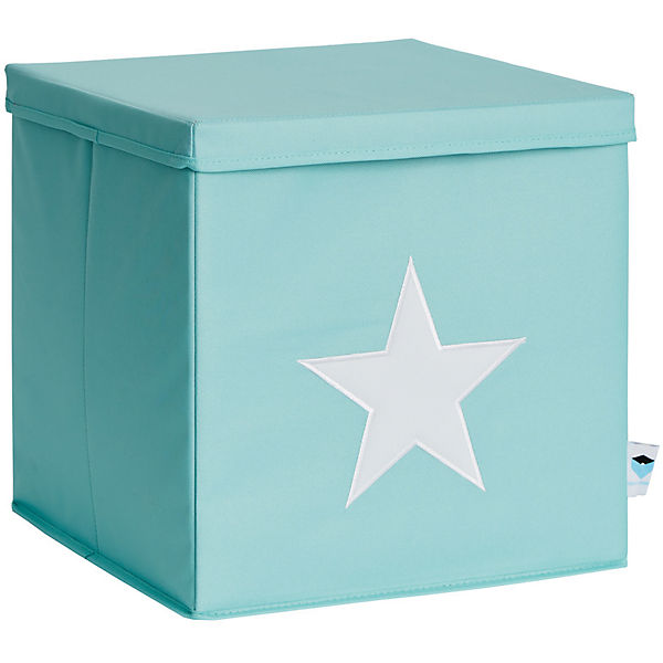 ordnungsbox mit deckel mdf mint mit wei em stern gr n store it yomonda. Black Bedroom Furniture Sets. Home Design Ideas