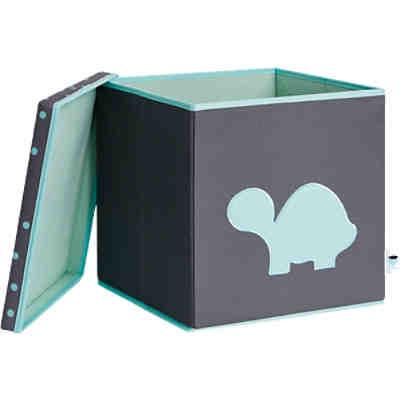 spielzeugkiste schildkr te mit stabilem deckel grau blau grau store it yomonda. Black Bedroom Furniture Sets. Home Design Ideas
