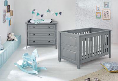 Sparset GRISU, 2-tlg. (Kinderbett und Wickelkommode), grau lackiert Gr. 70 x 140
