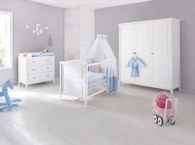Komplett Kinderzimmer SMILLA, 3-tlg. (Kinderbett, Wickelkommode und 3-türiger Kleiderschrank), Kiefer massiv, weiß lasiert Gr. 70 x 140