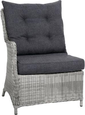 Polyrattan Seitenteil links Dining-Lounge Sofa ´´Charme´´ grau Gr. 180 x 180