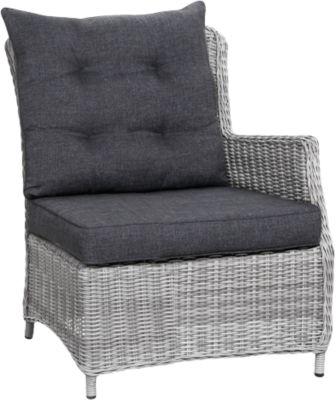 Polyrattan Seitenteil rechts Dining-Lounge Sofa ´´Charme´´ grau Gr. 180 x 180