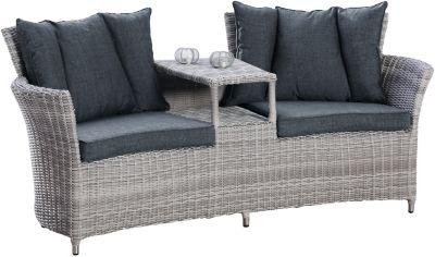 Polyrattan Duo-Lounge Sofa ´´Charme´´ mit Zwischanablage grau Gr. 180 x 180