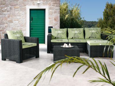 4-tlg. Polyrattan Lounge Sitzgruppe ´´Birds & Flowers´´ grün/anthrazit