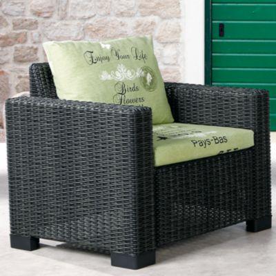 Polyrattan Lounge Sessel ´´Birds & Flowers´´ schwarz/grün Gr. 180 x 200