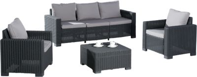 4-tlg. Polyrattan Lounge Sitzgruppe ´´Mali´´ grau/anthrazit